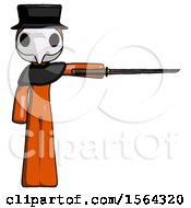 Orange Plague Doctor Man Standing With Ninja Sword Katana Pointing Right