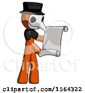 Orange Plague Doctor Man Holding Blueprints Or Scroll