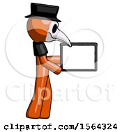 Orange Plague Doctor Man Show Tablet Device Computer To Viewer Blank Area