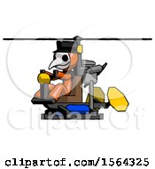 Orange Plague Doctor Man Flying In Gyrocopter Front Side Angle View