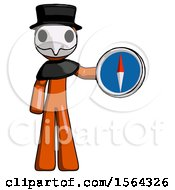 Orange Plague Doctor Man Holding A Large Compass