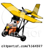 Orange Plague Doctor Man In Ultralight Aircraft Top Side View
