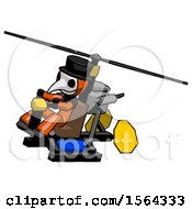 Orange Plague Doctor Man Flying In Gyrocopter Front Side Angle Top View
