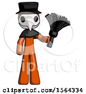 Orange Plague Doctor Man Holding Feather Duster Facing Forward