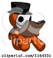 Orange Plague Doctor Man Reading Book While Sitting Down