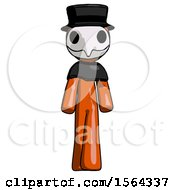 Orange Plague Doctor Man Walking Front View
