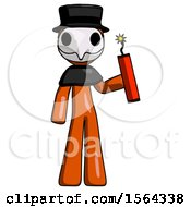 Orange Plague Doctor Man Holding Dynamite With Fuse Lit
