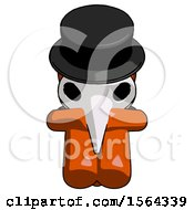 Orange Plague Doctor Man Sitting With Head Down Facing Forward