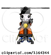 Orange Plague Doctor Man Flying In Gyrocopter Front View