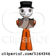 Orange Plague Doctor Man Reading Book While Standing Up Facing Viewer