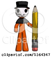 Orange Plague Doctor Man With Large Pencil Standing Ready To Write