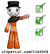 Orange Plague Doctor Man Standing By List Of Checkmarks