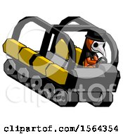 Orange Plague Doctor Man Driving Amphibious Tracked Vehicle Top Angle View