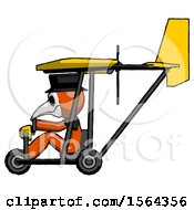 Orange Plague Doctor Man In Ultralight Aircraft Side View