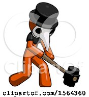 Orange Plague Doctor Man Hitting With Sledgehammer Or Smashing Something At Angle