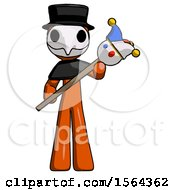 Orange Plague Doctor Man Holding Jester Diagonally