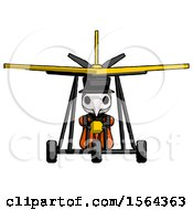 Orange Plague Doctor Man In Ultralight Aircraft Front View