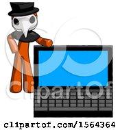Orange Plague Doctor Man Beside Large Laptop Computer Leaning Against It