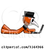 Orange Plague Doctor Man Using Laptop Computer While Lying On Floor Side View
