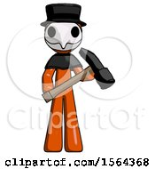 Orange Plague Doctor Man Holding Hammer Ready To Work