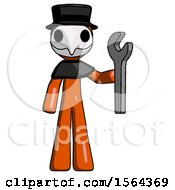 Orange Plague Doctor Man Holding Wrench Ready To Repair Or Work