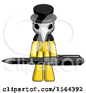 Yellow Plague Doctor Man Weightlifting A Giant Pen