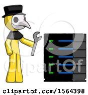 Yellow Plague Doctor Man Server Administrator Doing Repairs