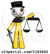 Yellow Plague Doctor Man Justice Concept With Scales And Sword Justicia Derived