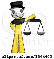 Yellow Plague Doctor Man Holding Scales Of Justice
