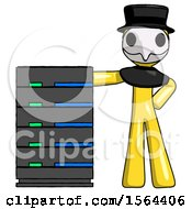 Yellow Plague Doctor Man With Server Rack Leaning Confidently Against It