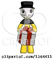Yellow Plague Doctor Man Gifting Present With Large Bow Front View