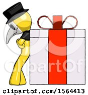 Yellow Plague Doctor Man Gift Concept Leaning Against Large Present