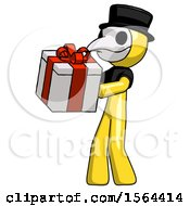 Yellow Plague Doctor Man Presenting A Present With Large Red Bow On It
