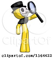 Yellow Plague Doctor Man Inspecting With Large Magnifying Glass Facing Up