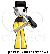 Yellow Plague Doctor Man Holding Hammer Ready To Work