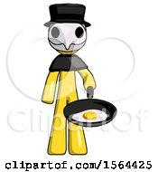 Poster, Art Print Of Yellow Plague Doctor Man Frying Egg In Pan Or Wok