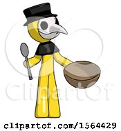 Yellow Plague Doctor Man With Empty Bowl And Spoon Ready To Make Something