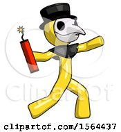 Yellow Plague Doctor Man Throwing Dynamite