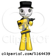 Yellow Plague Doctor Man Holding Large Drill