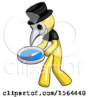 Yellow Plague Doctor Man Walking With Large Compass