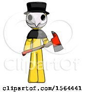 Yellow Plague Doctor Man Holding Red Fire Fighters Ax