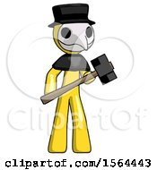 Yellow Plague Doctor Man With Sledgehammer Standing Ready To Work Or Defend