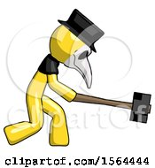 Yellow Plague Doctor Man Hitting With Sledgehammer Or Smashing Something