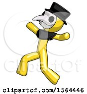 Yellow Plague Doctor Man Running Away In Hysterical Panic Direction Left