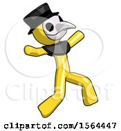 Yellow Plague Doctor Man Running Away In Hysterical Panic Direction Right