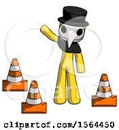Yellow Plague Doctor Man Standing By Traffic Cones Waving