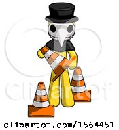Yellow Plague Doctor Man Holding A Traffic Cone