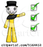 Yellow Plague Doctor Man Standing By List Of Checkmarks