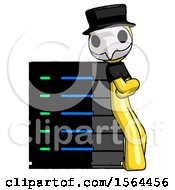 Yellow Plague Doctor Man Resting Against Server Rack Viewed At Angle
