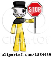 Yellow Plague Doctor Man Holding Stop Sign